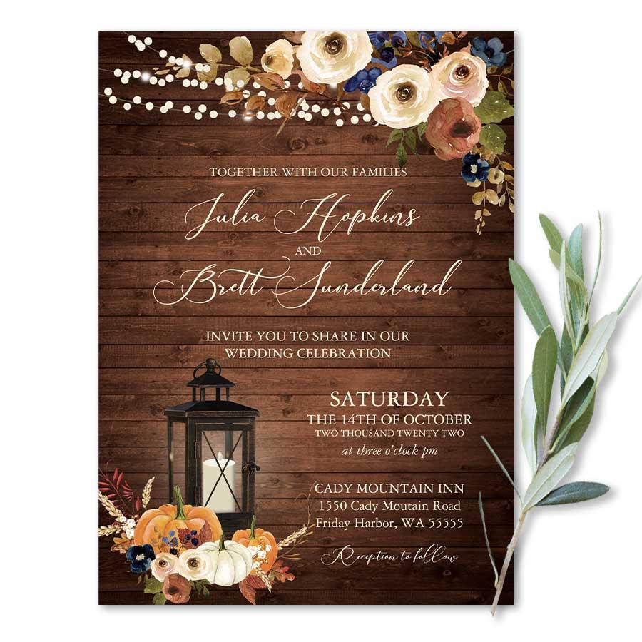 Rustic Fall Wedding Invitation Lantern Florals