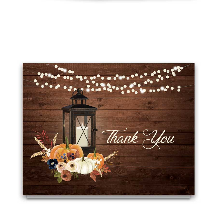 Rustic Wedding Thank You Card For Fall